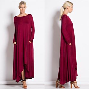 """Compass Rose"" Long Sleeve Maxi Dress"