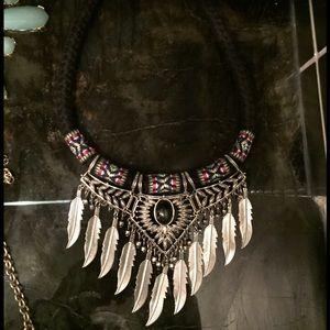 Braided boho feather necklace