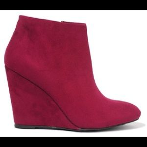 Plum Pointed Pointy Toe Wedge Ankle Boot Booties 8