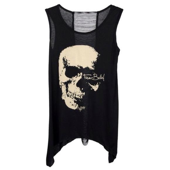 fc4d2a00f03ba Punk Chic Shredded Back Skull Tank Top UNISEX💀