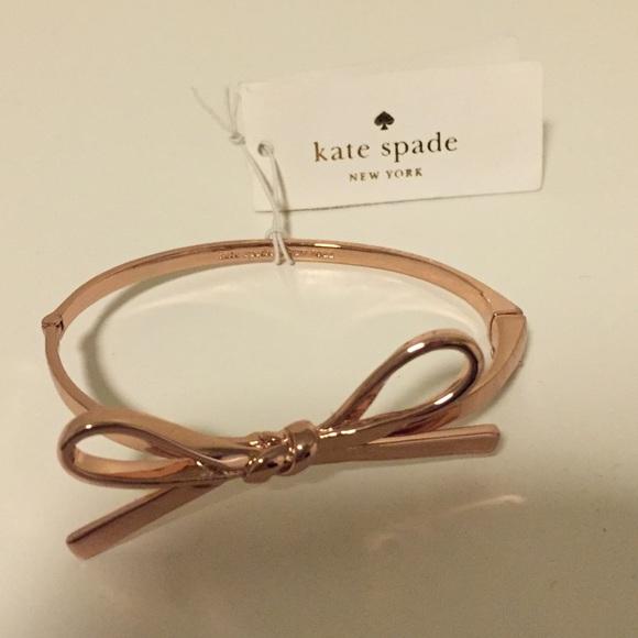 ca6fe4b4bc83f Kate Spade Rose Gold Bow Bracelet NWT