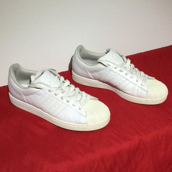 ADIDAS SUPERSTAR white leather . W12 m10.5 Eu 44