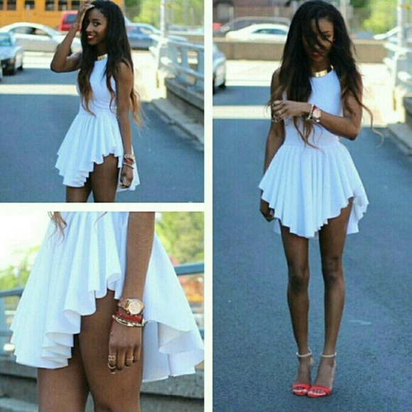 0e431f3fd392 Dresses | Asymmetrical White Flowy Dress Ver Cute | Poshmark
