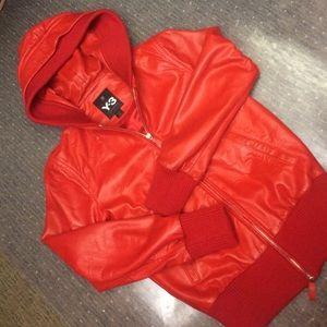 Yohji Yamamoto Jackets & Blazers - Yohji Yamamoto red leather hooded jacket small Y-3