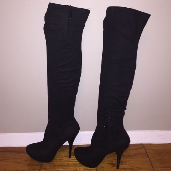 1216803fa7d Guess by Marciano Shoes - Sexy black suede over the knee platform boot