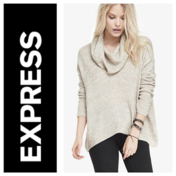 83% off Express Sweaters - Express Oversized Marled Cowl Neck ...