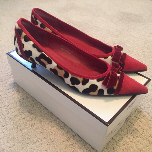 72% off Coach Shoes - HP 12/21 Coach Ocelot Red Suede Kitten ...