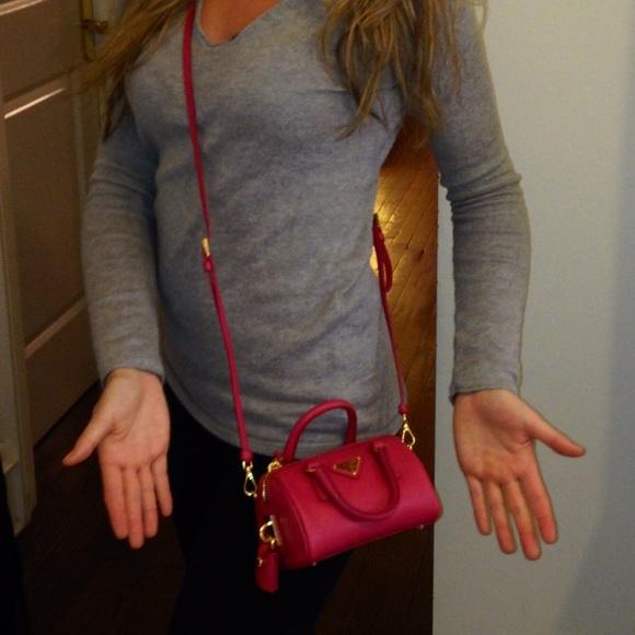 6c1fdf1fde ... coupon for italy prada bags prada mini saffiano tote cross body bag in  pink a872e 8d589