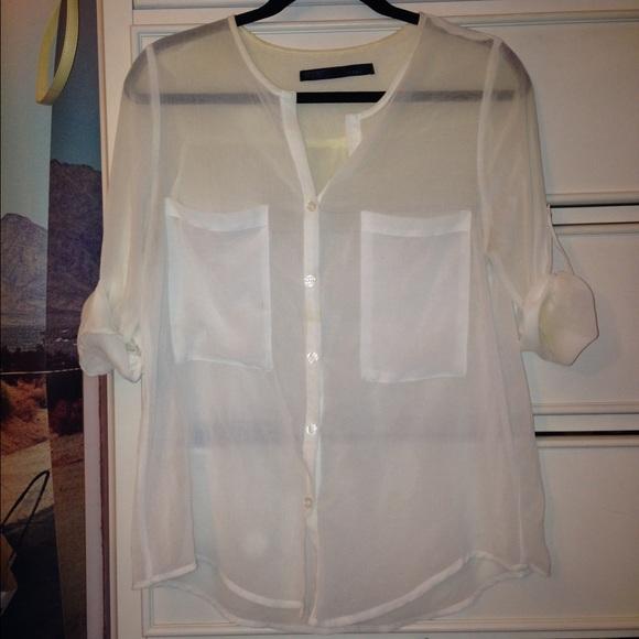 Tops Sheer White Button Down Shirt Poshmark