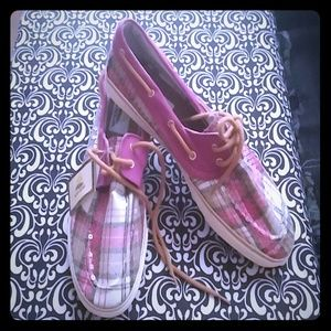 Sequined plaid boat shoes