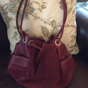 Leather/suede Raspberry J Jill shoulder bag