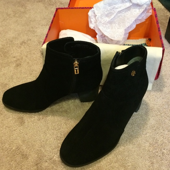 aabcc15e78df52 Tory burch sabe black booties 9 suede   leather. M 565f38136ba9e6f2cf04def1
