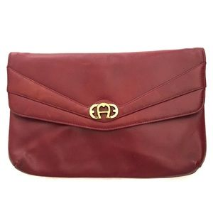 Vintage OXBLOOD Leather Etienne Aigner Clutch