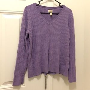 Bass Light Purple Cable Knit Cotton Sweater XL