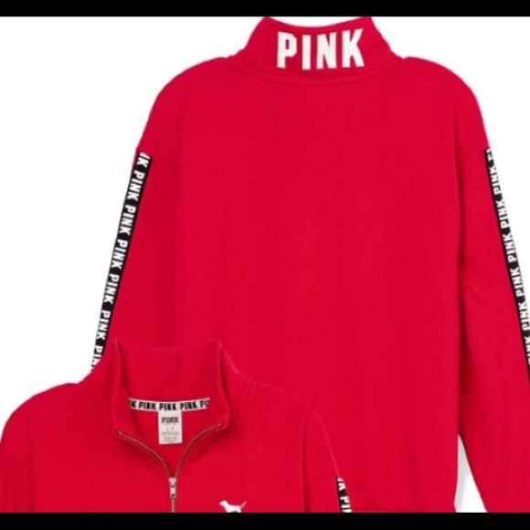 33% off PINK Victoria's Secret Sweaters - Hot red VS half zip ...