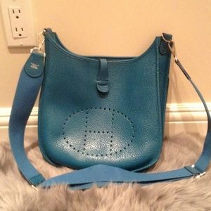 authentic hermes evelyne iii blue electric pm