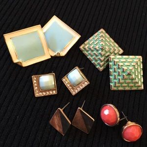 Rhinestone & Gold Tone Post Earrings