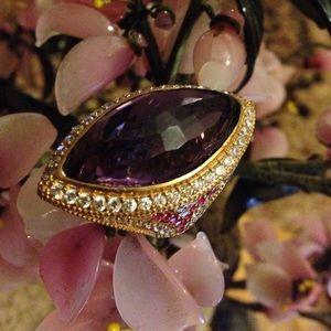 Vintage 925 Faced amethyst ruby topaz ring