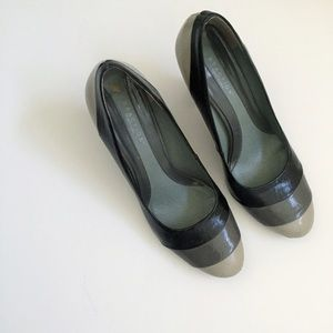 Shoes - Grey, Charcoal and Black Colorblock Block Heels