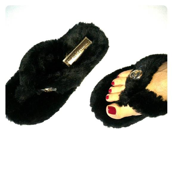 7b5700f6dd9 MK faux fur black fuzzy thong home slippers