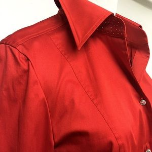 Escada Tops - RHINESTONE & RED ESCADA BUTTON BLOUSE 36 US S