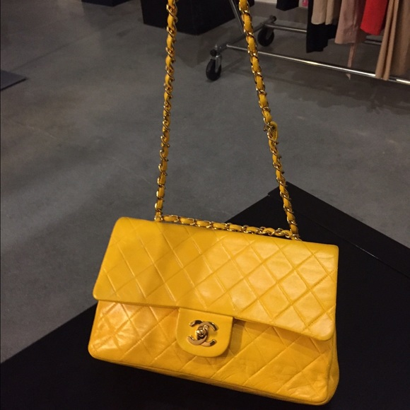 710a8883e9d98c CHANEL Bags | Sold Authentic Yellow Lambskin Flap 255 | Poshmark