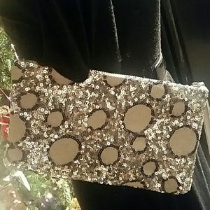 Silver and black sequin clutch
