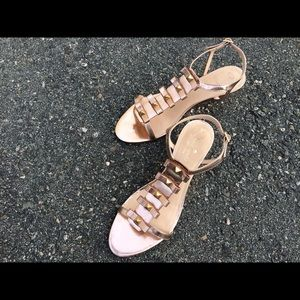 Kate Spade Darci rosegold wedge sandals-bows/studs
