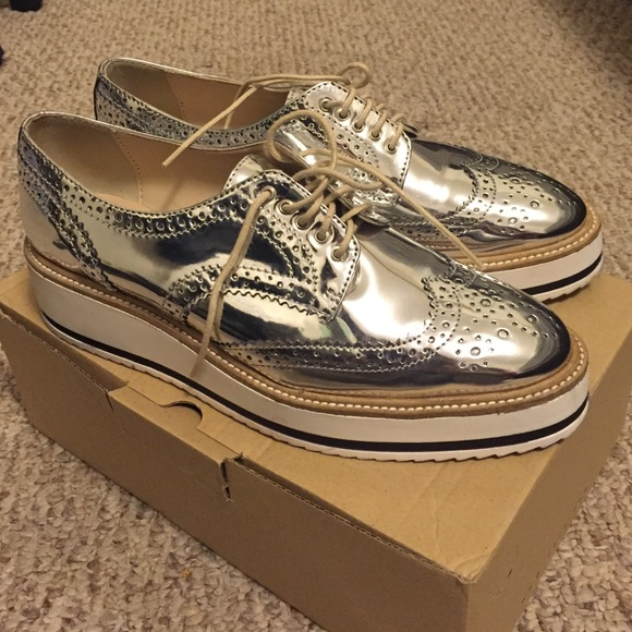 Oxford Shoes Women Silver