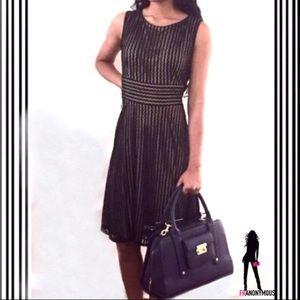 Gabby Faye Dresses & Skirts - Black Lace Overlay Fit & Flare Sleeveless Dress