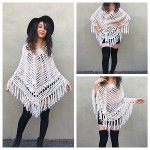 Vintage Fringe Poncho Crochet Off White Sweater OS