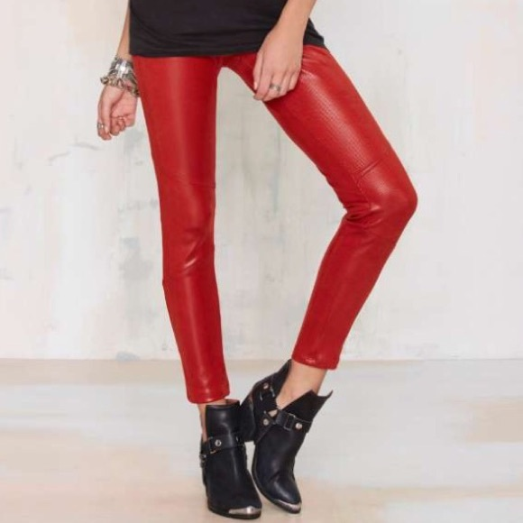 moderate price best choice extremely unique Nasty gal faux red leather, snakeskin pants size M NWT