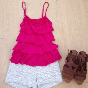 Express Pink Ruffled Tank Top