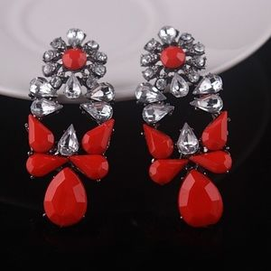 Bold Red statement earrings 