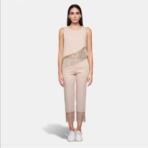 Franja Set beige fringes assymetrical