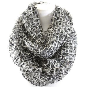 B4 Gray Black Gold White Lurex Infinity Scarf