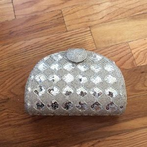 Vintage beaded and sequin silver clutch