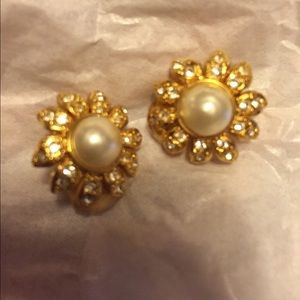 Authentic Chanel earrings flower clip on