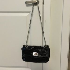 Michael Kors Patent Leather Clutch & Silver Chain