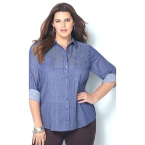 Avenue Blue Crinkle Chambray Button Down Shirt