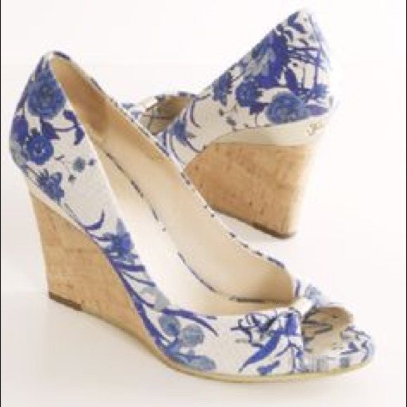 Gucci Shoes Blue Floral Wedges Poshmark