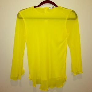 Zara trafaluc chiffon yellow top XS