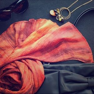 Saffron Watercolor Hand Dyed Natural Silk Scarf