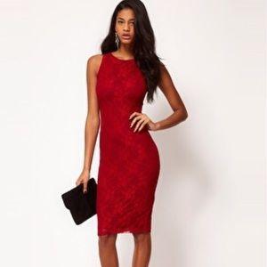 ASOS petite exclusive Lace midi dress teal