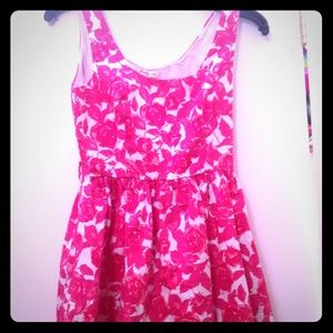 Pink and white floral dress