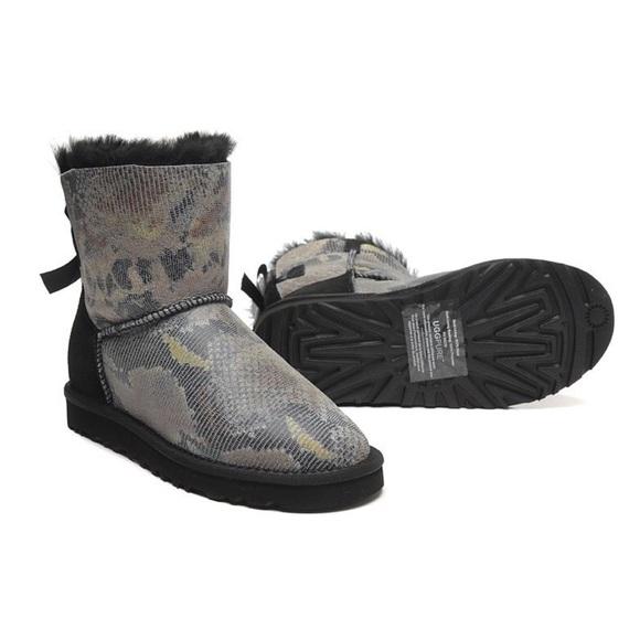 UGG mini Bailey bow boots snake print NWT