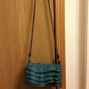 Handbags - Zippered ruffled teal bag