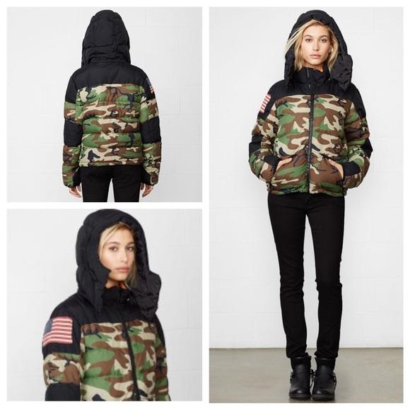 Denim   Supply Black Camo Down Puffer Jacket c4d49a6257784