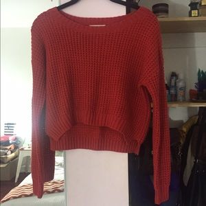 Nasty Gal High-low cropped orange sweater