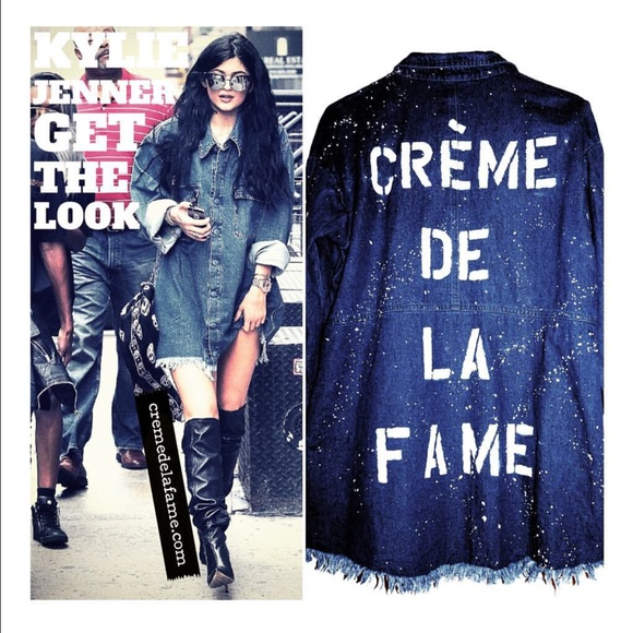 CREME DE LA FAME Jackets & Blazers - CDLF DISTRESSED DENIM SHIRT DRESS